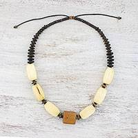 Wood and coconut shell beaded necklace, 'Nature's Calm' - Wood and Coconut Shell Beaded Necklace from Thailand