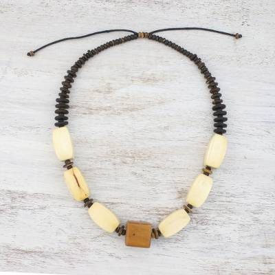 Wood and coconut shell beaded necklace, Natures Calm