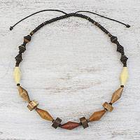 Wood and coconut shell beaded necklace, 'Summer Traveler' - Wood and Coconut Shell Long Bead Necklace from Thailand