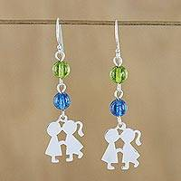 Quartz dangle earrings, 'Sweet Friendship' - Green and Blue Quartz Dangle Earrings from Thailand