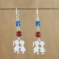 Carnelian and quartz dangle earrings, 'Sweet Friendship' - Carnelian and Quartz Dangle Earrings from Thailand