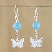 Chalcedony dangle earrings, 'Butterfly Paradise' - Chalcedony and Sterling Silver Butterfly Dangle Earrings