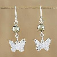 Pyrite dangle earrings, 'Butterfly Paradise' - Pyrite and Sterling Silver Butterfly Dangle Earrings
