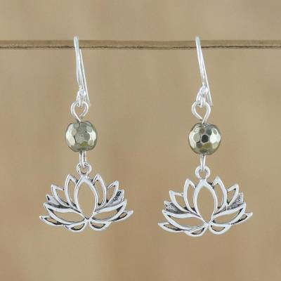 Pyrite dangle earrings, Lotus Gleam