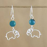 Serpentine dangle earrings, 'Elephant Paradise' - Serpentine and Sterling Silver Elephant Dangle Earrings