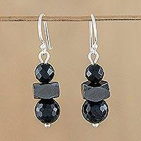 Onyx and hematite dangle earrings, 'Style by Night' - Onyx and Hematite Dangle Earrings from Thailand