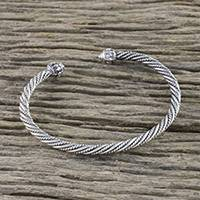 Sterling silver cuff bracelet, 'Twine Rope' - Rope Motif Sterling Silver Cuff Bracelet from Thailand