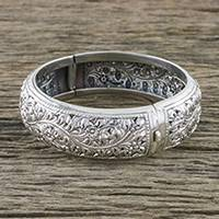 Sterling silver bangle bracelet, 'Tender Nature' - Sterling Silver Bracelet with Floral Motifs from Thailand