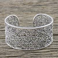 Sterling silver cuff bracelet, 'Hedge Maze' - Wide Silver Cuff Bracelet Hand Made in Thailand