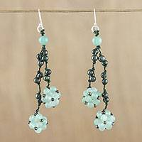 Aventurine and cultured pearl cluster earrings, 'Hanging Berries' - Aventurine and Cultured Pearl Cluster Earrings from Thailand