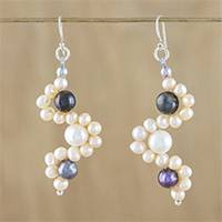 Cultured pearl dangle earrings, 'Dancing Pearls' - Cultured Pearl Beaded Dangle Earrings from Thailand