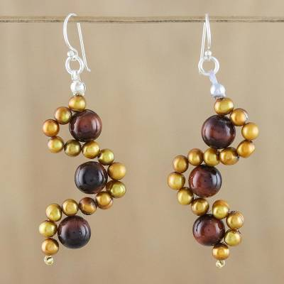 Tigers eye and cultured pearl dangle earrings, Dancing Gems