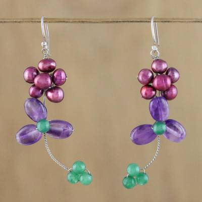 Multi-gemstone beaded dangle earrings, 'Morning Buds in Purple' - Cultured Pearl and Amethyst Beaded Dangle Earrings