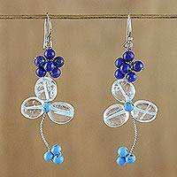 Lapis lazuli and quartz beaded dangle earrings, 'Bluebell Breeze' - Beaded Gemstone Earrings with Lapis Lazuli and Quartz