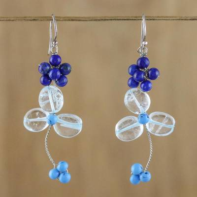 Lapis lazuli and quartz beaded dangle earrings, Bluebell Breeze