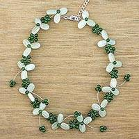 Aventurine and quartz beaded necklace, 'Luck of the Irish' - Beaded Floral Necklace in Light and Dark Green Gemstones