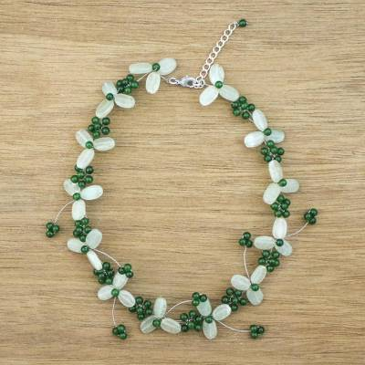 Aventurine and quartz beaded necklace, Luck of the Irish