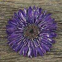 Natural flower brooch, 'Splendid Petals in Violet' - Handmade Natural Blue-Violet Gerbera Brooch from Thailand