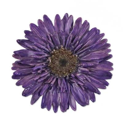 Handmade Natural Blue-Violet Gerbera Brooch from Thailand