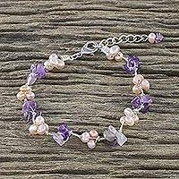 Amethyst and cultured pearl beaded bracelet, 'Chiang Mai Spring' - Amethyst and Pink Cultured Pearl Beaded Bracelet