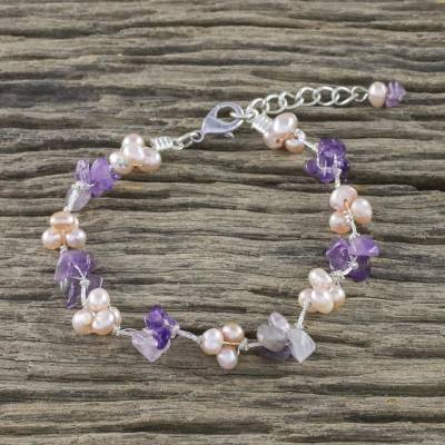 Amethyst and cultured pearl beaded bracelet, Chiang Mai Spring