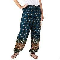 Rayon harem pants, 'Elephant Parade in Teal' - Comfortable Teal Elephant Print Rayon Harem Pants