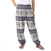 Rayon harem pants, 'Playful Holiday in Navy' - Navy and White Elephant Print Harem Pants in Rayon