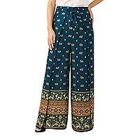 Rayon wrap pants, 'Elephant Parade in Teal' - Thai Rayon Wrap Pants in Teal with Elephant Print