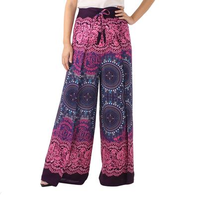 pink and purple mandala and lace print wrap pants exotic