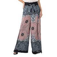 Rayon wrap pants, 'Exotic Holiday in Blue' - Mandala Print Wrap Pants in Woven Rayon from Thailand