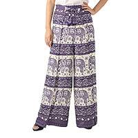 Rayon wrap pants, 'Playful Holiday in Purple' - Wrap Tie Style Pants Woven from Rayon Print in Purple