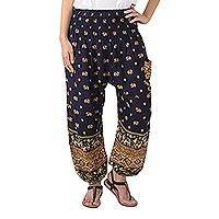 Rayon harem pants, 'Elephant Parade in Navy' - Elephant Print Harem Pants in Woven Rayon