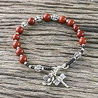 Jasper beaded bracelet, 'Exotic Dragonfly' - Jasper and Silver Beaded Dragonfly Bracelet from Thailand