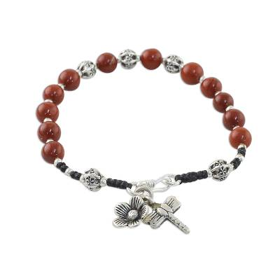 Jasper and Silver Beaded Dragonfly Bracelet from Thailand
