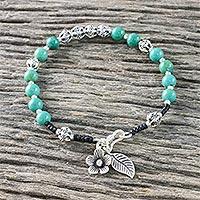 Turquoise beaded bracelet, 'Floral Jungle' (Thailand)