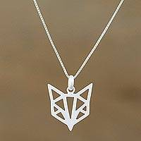 Sterling silver pendant necklace, 'Foxy Geometry' - Geometric Sterling Silver Fox Necklace from Thailand
