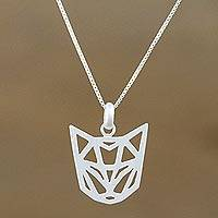 Sterling silver pendant necklace, 'Feline Geometry' - Geometric Sterling Silver Cat Necklace from Thailand