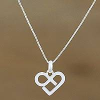 Sterling silver pendant necklace, 'Endless Heart' - Sterling Silver Heart Pendant Necklace from Thailand