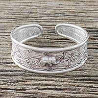 Sterling silver cuff bracelet, 'Exotic Elephant' - Handcrafted Sterling Silver Elephant Cuff Bracelet