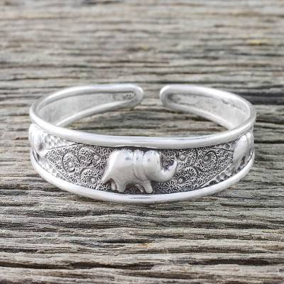 Sterling silver cuff bracelet, Elephant Way