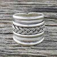 Sterling silver wrap ring, 'Eternal Memory' - Handcrafted Sterling Silver Wrap Ring from Thailand