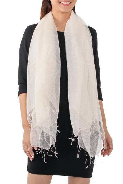 Silk blend scarf, 'Dazzling Beauty in Alabaster' - Handwoven Silk Blend Scarf in Alabaster from Thailand