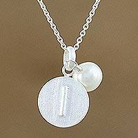 Cultured pearl pendant necklace, 'Fabulous I' - Cultured Pearl Letter I Pendant Necklace from Thailand