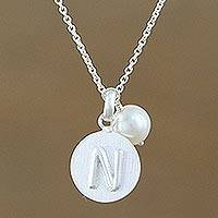 Cultured pearl pendant necklace, 'Fabulous N' - Cultured Pearl Letter N Pendant Necklace from Thailand