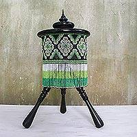 Glass beaded decorative accent, 'Nora Tripod' - Glass Beaded Decorative Accent on a Tripod from Thailand