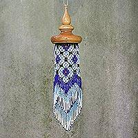 Glass beaded decorative accent, 'Menora Breeze in Blue' - Floral Glass Beaded Mobile in Blue from Thailand