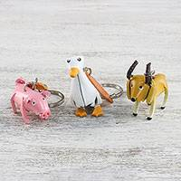 Leather keychains, 'Farm Trio' (set of 3) - Artisan Crafted Leather Goose Pig Goat Keychains (set of 3)