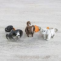 Leather keychains, 'Doggy Trio' (set of 3) - Thai Shih Tzu Poodle Dachshund Leather Keychains (set of 3)