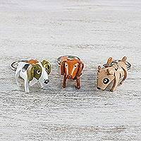 Leather keychains, 'Pooch Trio' (set of 3) - Bull Terrier Jack Russell Terrier Dachshund Leather Keyrings