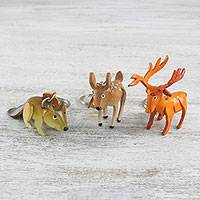 Leather keychains, 'Forest Trio' (set of 3) - Handcrafted Leather Deer Fawn Squirrel Keychains (set of 3)